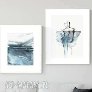zestaw 2 obrazów wykonanych ręcznie, abstrakcja, 2664395, obraz ręcznie malowany