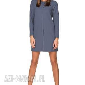 elegancka sukienka z zakładką, t209, brudny niebieski, sukienka, elegancka, zakładka