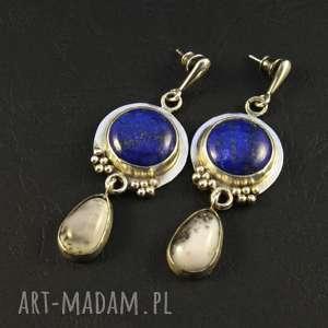 lapis lazuli i początek nocy, lazuli, srebro oksydowane, agat dendrytowy