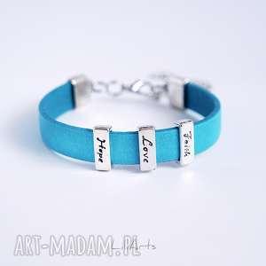ręcznie zrobione bransoletki bransoletka skórzana - niebieska - faith, love, hope