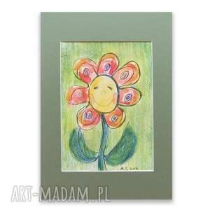 Kolorowy obrazek do dziecięcego pokoju, kwiatuszek rysunek, kwiatek