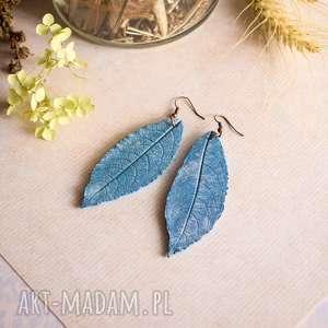 błękitne kolczyki frozen, kolczyki, liście