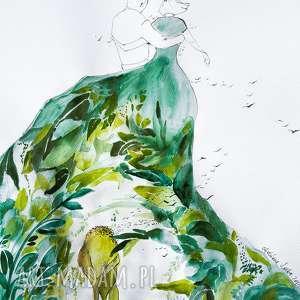 zielona sukienka akwarela artystki plastyka adriany laube, akwarela, para