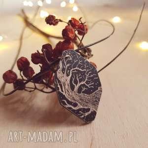 Drewniany wisior grawerowany, moonlight minimalist art, drzewo, drewno, naszyjnik