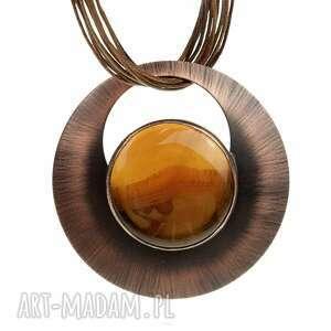 artseko naszyjnik z miedzi miodowym agatem c825, agatem, biżuteria