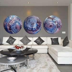 tryptyk księżycowy, abstrakcja, planeta, niebo, ziemia, tondo, księżyc
