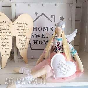 anioł tilda lalka na chrzest święty, anioł, tilda, chrzest, szmacianka