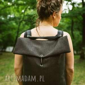 ręcznie wykonane plecako-torba ciemna plecionka