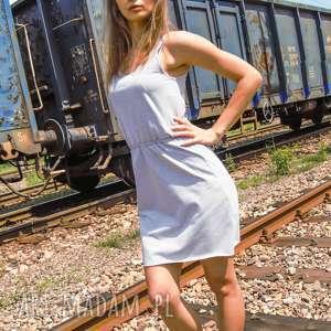 lil yo odziez sukienka bawełniana free up dress szara na ramiączkach