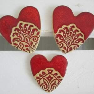 magnesy folkowe serduszka zestaw 3 sztuk, podziękowania, dla gości