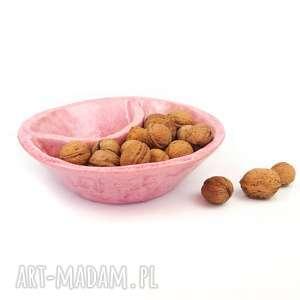 dzielona miska różowa, ceramika, miska