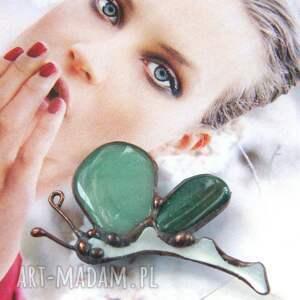 broszka: motyl z awenturynem owady, awenturyn amulet kamień, broszka kamień