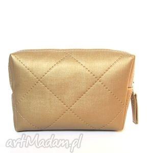 kosmetyczki gold mini pouch - pikowana torebka, pikowana, karo, handmade, kosmetyczka
