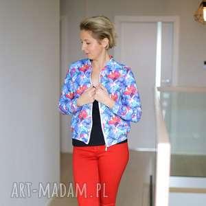 hand-made bluzy damska bomberka w kwiaty, na suwak we wzory, wzorzysta kurtka damska