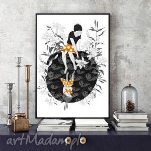 Biała lilia art print a4 parallel world grafika, ilustracja