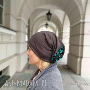 czapka ciepła miękka długa boho handmade, etno, dzianina dluga