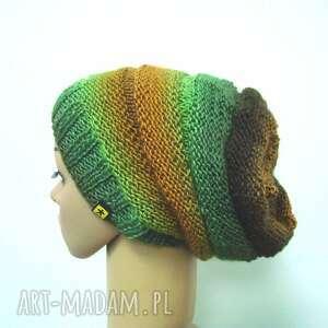 czapki długa czapka w zieleniach i brązach, czapka, czapeczka, długa, cieniowana