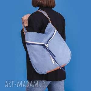 ręczne wykonanie na ramię simply bag - duża torba worek niebieska