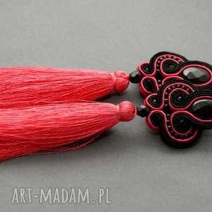 czarno-malinowe klipsy sutasz z chwostami, sznurek, eleganckie, wiszące, wieczorowe