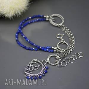 Kobaltowy lapis lazuli - bransoletka Elhan , bransoletka, srebrna, lapis-lazuli