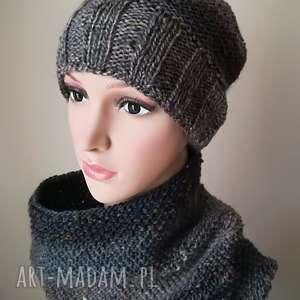 zimowy tweed-komplet czapka/komin, komplet, rękodzieło, tweed, czapka, komin, melanż