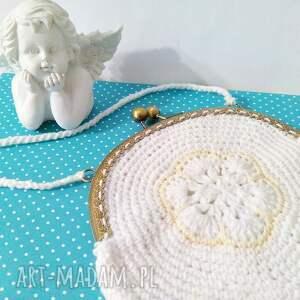 Torebka do I Komunii Świętej z biglami w kolorze antycznego brązu - handmade
