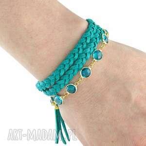 boho - turquoise gold , boho, rzemień, zamsz, chwost bransoletki