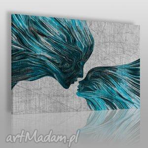 obraz na płótnie - twarze pocałunek turkus 120x80 cm 13507, twarze, abstrakcja