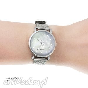 zegarek, bransoletka - szary mały, bransoletka, metalowa, elegancki