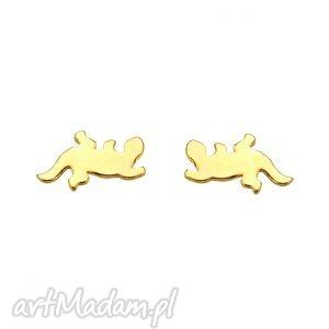 złote kolczyki salamandry - złoto, blogerskie jaszczurka, sztyfty