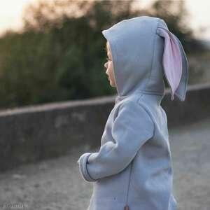 bluzo/płaszczyk z uszami królika w kolorze mysim, mysi kolor, uszy