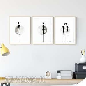 Zestaw 3 obrazków a4 malowanych ręcznie, abstrakcja art krystyna