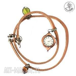 karolutka tworzy - zegarek skórzany owijany z kwarcami, zegarek, zegarek-skórzany