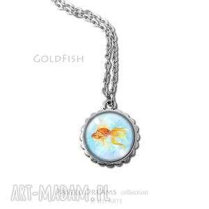 medalion, naszyjnik - złota rybka mały, naszyjnik, wisiorek
