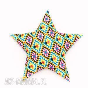 poduszka gwiazdka - azteki ciemne, poduszka, gwiazdka, star, dziecko