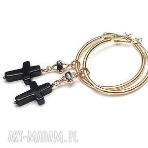 Cross vol. 10 /12-04-18/ - kolczyki, koła, krzyż, onyksy, cyrkonie