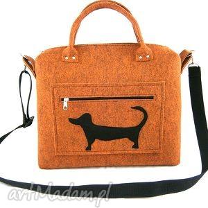 pod choinkę prezent, russet chest dog on pocket, filc, torebka, kuferek, pojemna