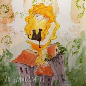 ANIELSKI OPIEKUN akwarela artystki plastyka Adriany Laube, anioł, kot, rośliny