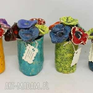 ceramika piękny wyjątkowy komplet kwiaty ceramiczne 6szt i wazonik handmade