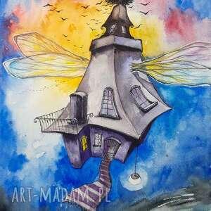 dom północnej czarownicy akwarela artystki adriany laube - baśniowy obraz