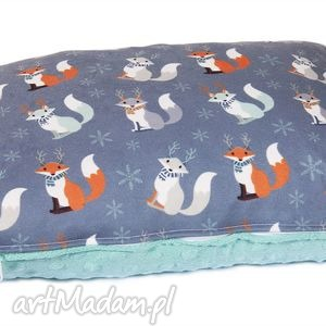 Kolorowa poduszka Minky wymienna poszewka pos-3009, minky, poduszka, liski, szary
