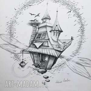 adriana laube art latający dom czarownicy rysunek ołówkiem artystki adriany