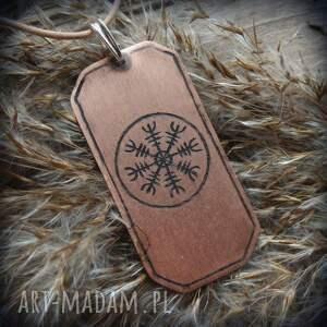 Wisior z trawionej miedzi Aegishjalmur, wiking, wikingowie, aegishjalnur, runa, runy