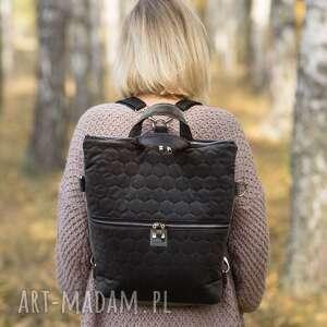 ręcznie zrobione plecak / torba 2 w 1 szary pikowany welur tapicerski