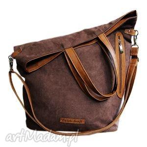 torba brązowy zamsz - torba, zamsz, duża, shopper, torebka