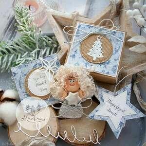 aniołek bożonarodzeniowy. zestaw świąteczny: aniołek, kartka