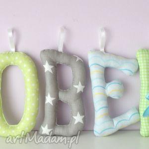 literki szyte imię robert ozdoba pokoju - litery, literki, imię, dziecka, prezent