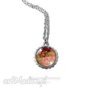 medalion, naszyjnik - lato - mały, wisiorek, kwiaty, grafika kaboszon