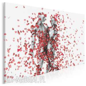 obraz na płótnie - para miłość płatki róże 120x80
