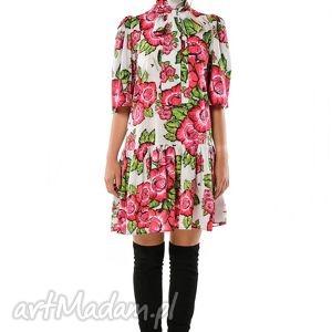 sukienki dobrawa - szyfonowa suknia w czerwone kwiaty